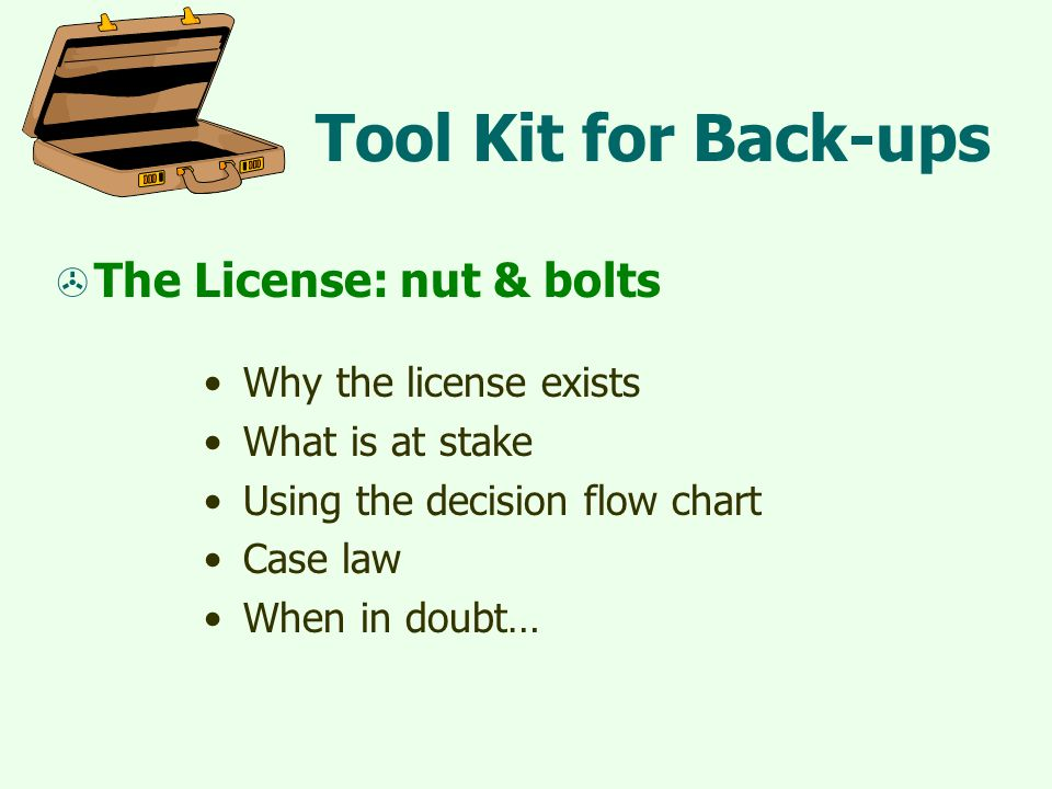 Tool Kit for Back-ups  The License: nut & bolts Why the license exists What is at stake Using the decision flow chart Case law When in doubt…