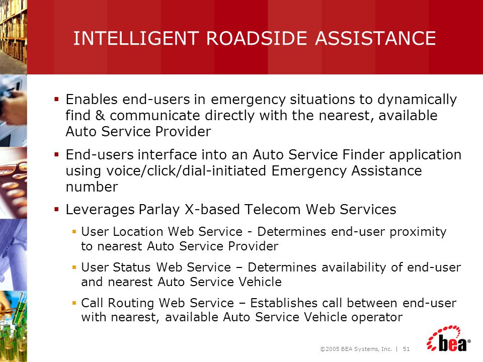 ©2005 BEA Systems, Inc. | 51 INTELLIGENT ROADSIDE ASSISTANCE  Enables end-users in emergency situations to dynamically find & communicate directly wi
