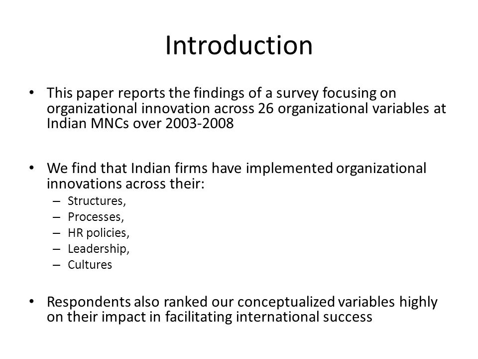 Variables Ranked Most Important in Facilitating International Success
