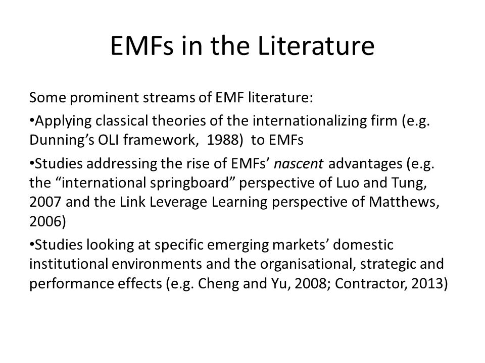 Implications Our findings suggests that Indian EMFs, that earlier were associated with poor organizational features, are rapidly transforming their organizations Indian executives are increasingly confident that they will be able to compete successfully on an international scale This has important implications for other EMFs and DMFs Our study could also serve as a potentially comprehensive guide to EMF managers looking at organizational innovation in the internationalization context
