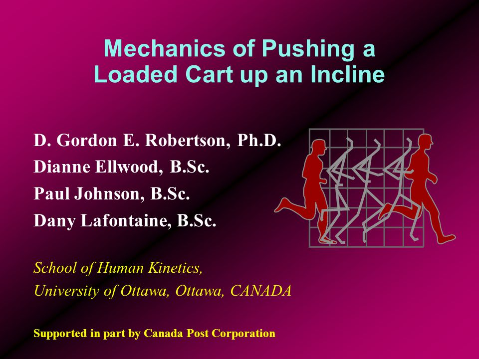 Purpose to determine the functional role of the three leg moments of force while subjects push a heavily loaded cart up a 10 deg incline to determine the functional role of the three leg moments of force while subjects push a heavily loaded cart up a 10 deg incline to test whether resultant forces at L5/S1 exceed 3400 N (NIOSH action limit) to test whether resultant forces at L5/S1 exceed 3400 N (NIOSH action limit)