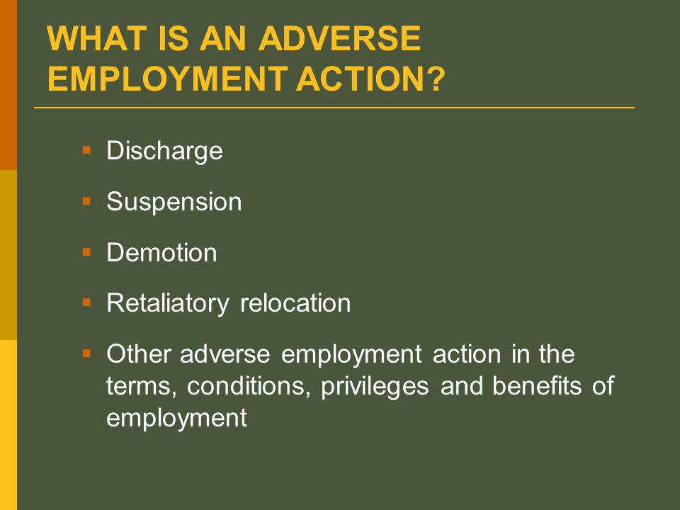 WHAT IS AN ADVERSE EMPLOYMENT ACTION.