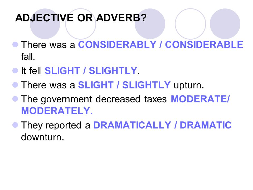 ADJECTIVE OR ADVERB. There was a CONSIDERABLY / CONSIDERABLE fall.