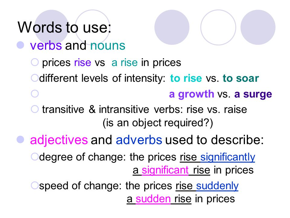 Words to use: verbs and nouns  prices rise vs a rise in prices  different levels of intensity: to rise vs.