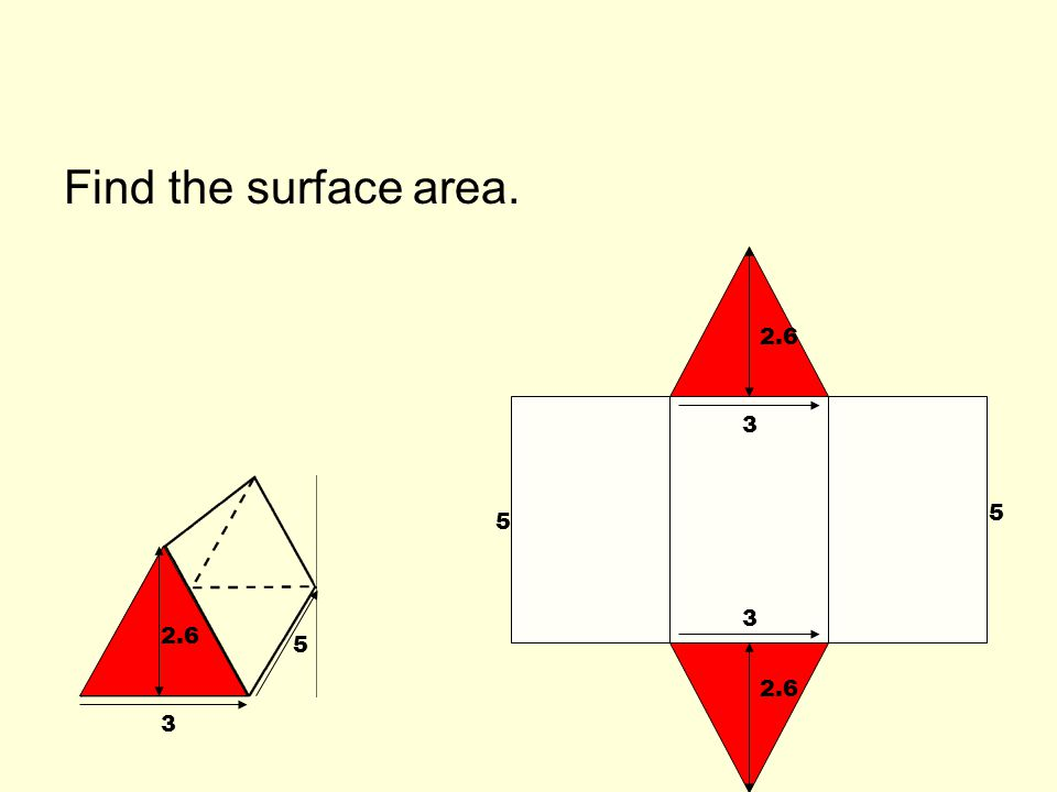 Find the surface area. 2.6 3 3 3 5 5 5