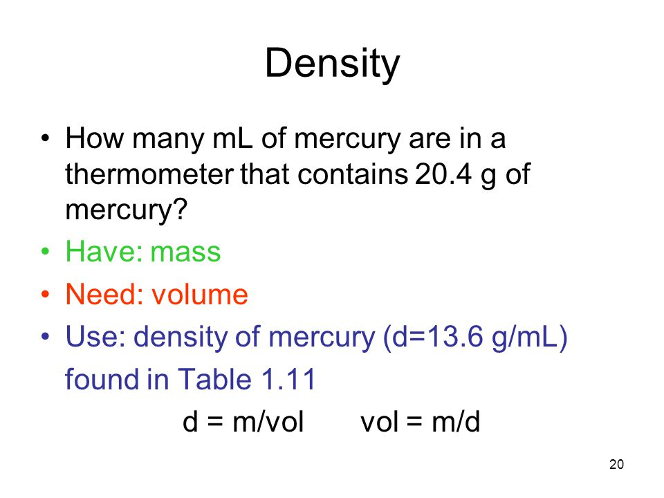 20 Density How many mL of mercury are in a thermometer that contains 20.4 g of mercury? Have: mass Need: volume Use: density of mercury (d=13.6 g/mL)