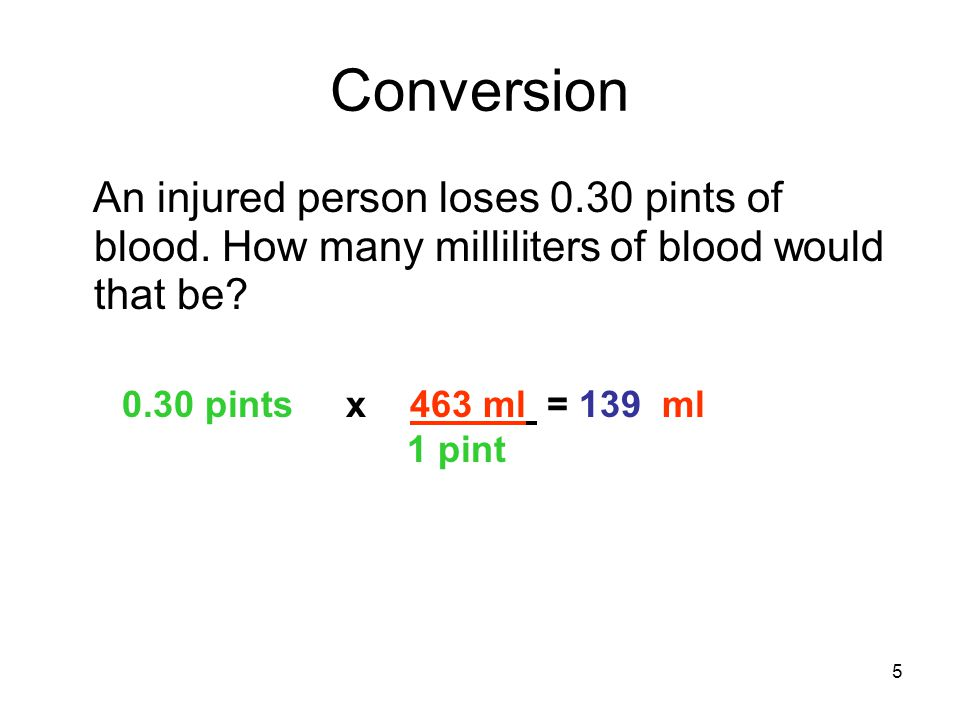 5 Conversion An injured person loses 0.30 pints of blood. How many milliliters of blood would that be? 0.30 pints x 463 ml = 139 ml 1 pint