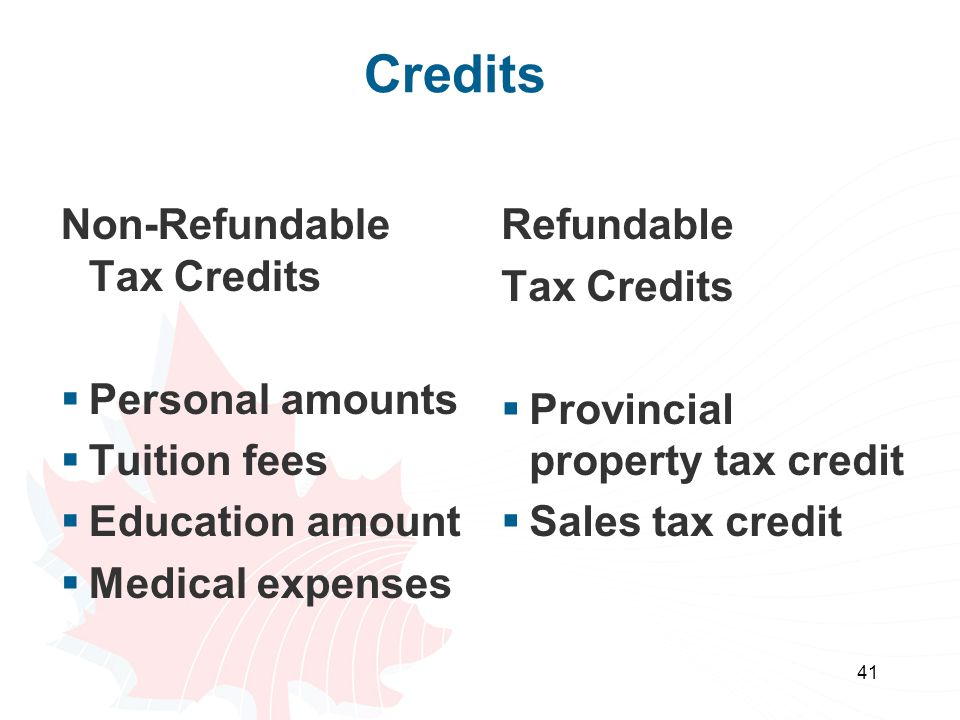 41 Credits Non-Refundable Tax Credits  Personal amounts  Tuition fees  Education amount  Medical expenses Refundable Tax Credits  Provincial prop