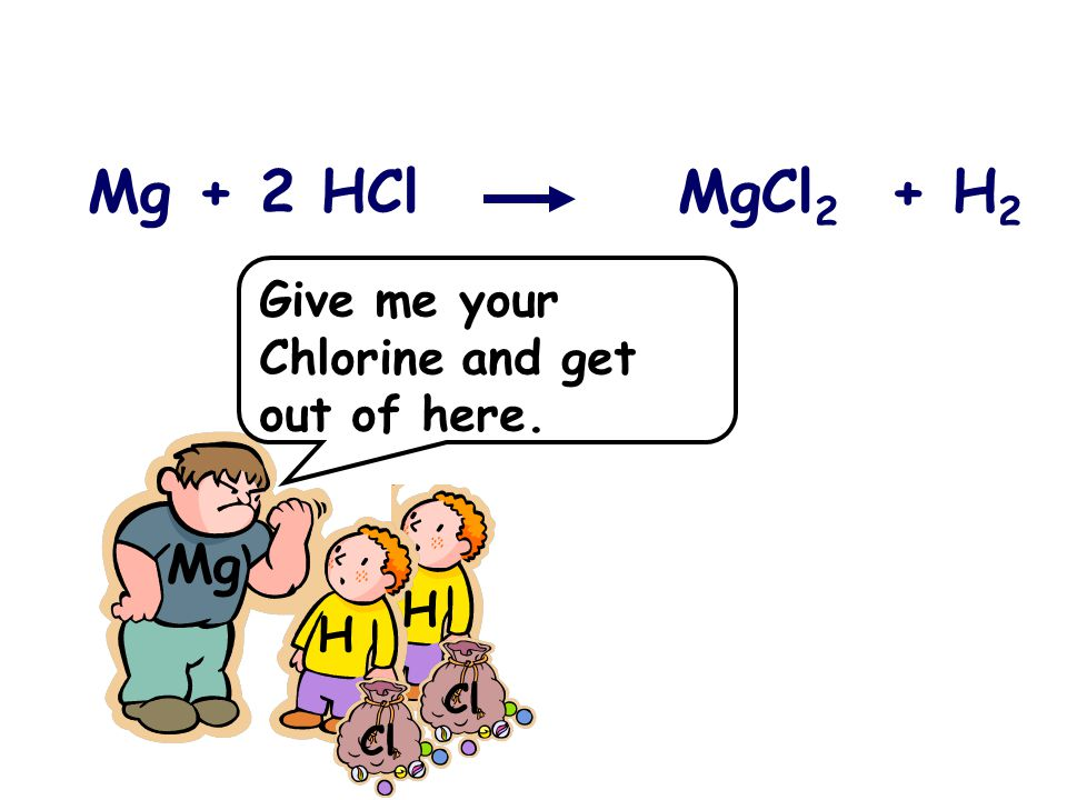 Mg + 2 HCl MgCl 2 + H 2 Mg H H Cl Give me your Chlorine and get out of here.