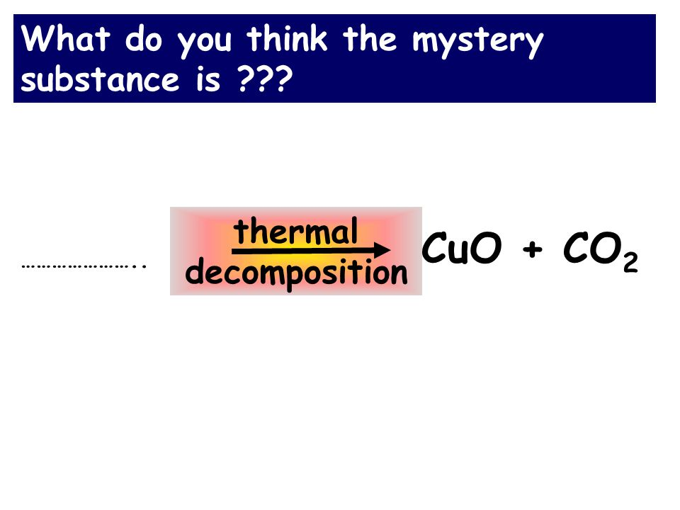 What do you think the mystery substance is CuO + CO 2 thermal decomposition …………………..