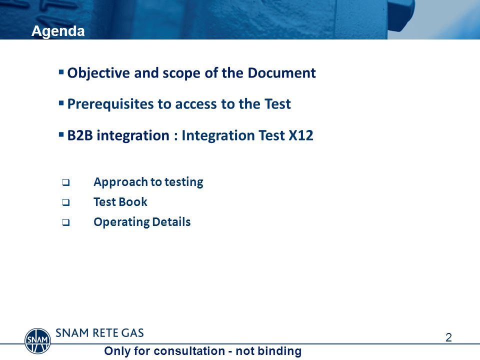Agenda  Objective and scope of the Document  Prerequisites to access to the Test  B2B integration : Integration Test X12  Approach to testing  Test Book  Operating Details 2 Only for consultation - not binding