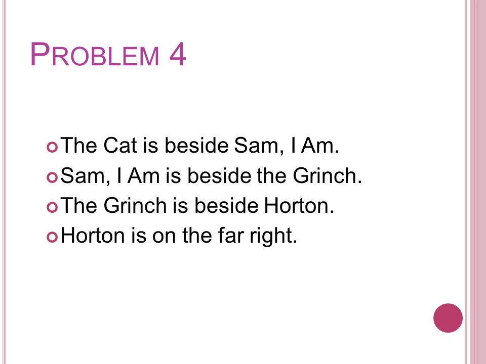 P ROBLEM 4 The Cat is beside Sam, I Am. Sam, I Am is beside the Grinch.