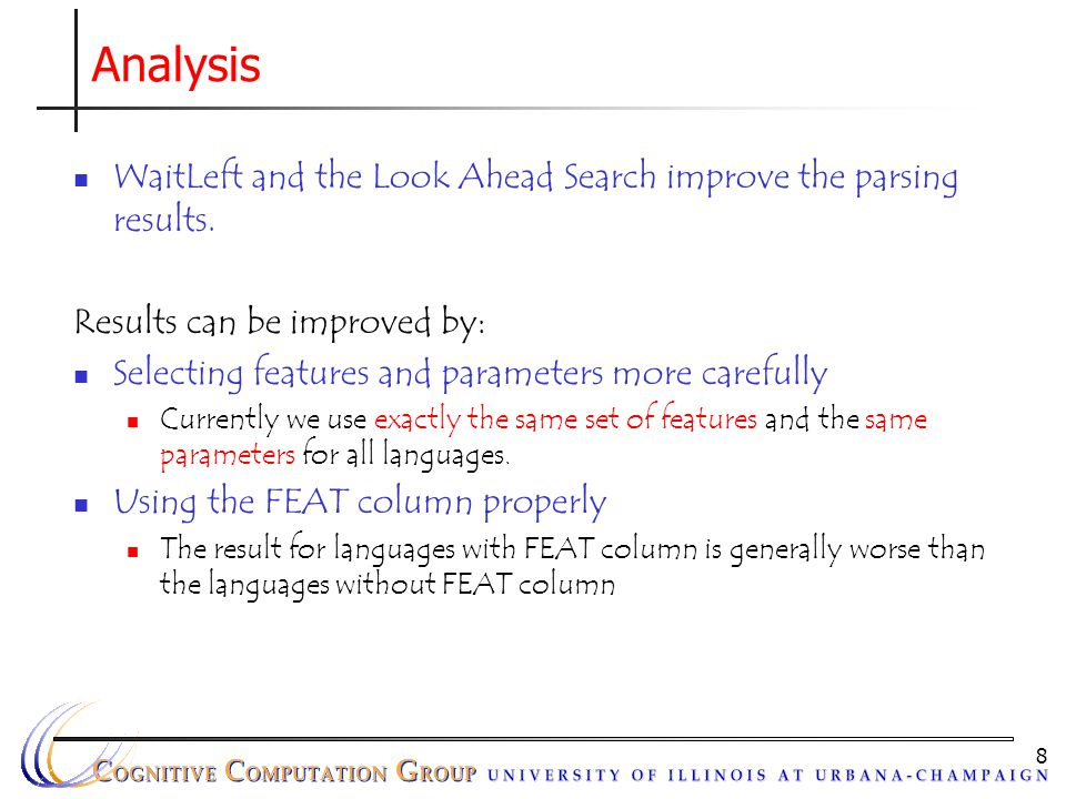 8 Analysis WaitLeft and the Look Ahead Search improve the parsing results. Results can be improved by: Selecting features and parameters more carefull