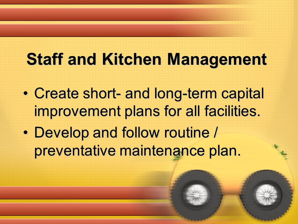 Create short- and long-term capital improvement plans for all facilities.Create short- and long-term capital improvement plans for all facilities. Dev