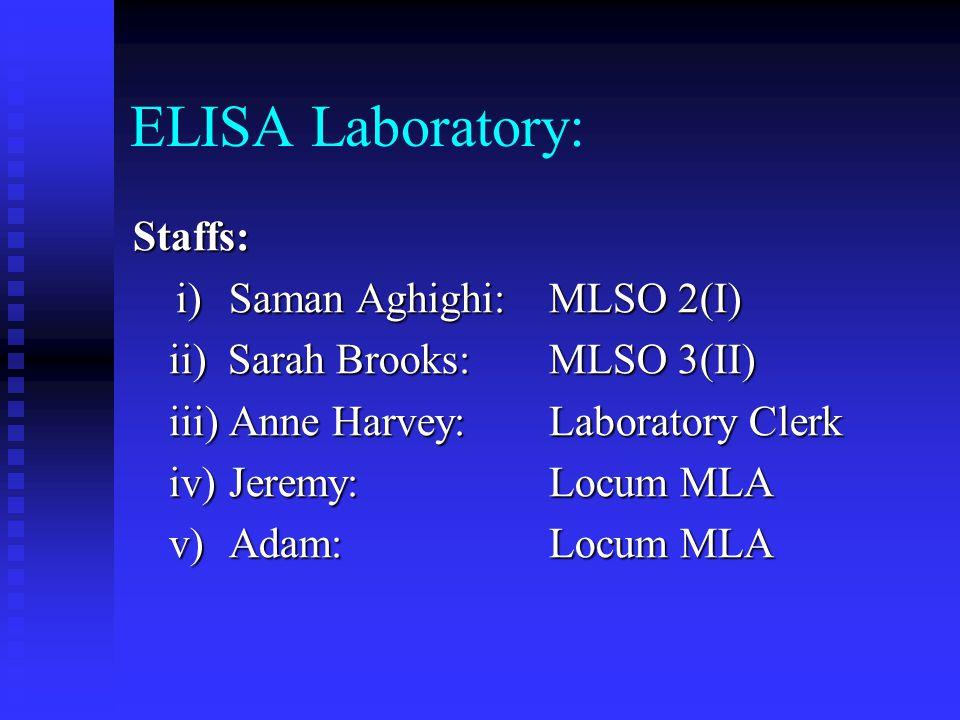 ELISA Laboratory: Staffs: i)Saman Aghighi: MLSO 2(I) i)Saman Aghighi: MLSO 2(I) ii) Sarah Brooks: MLSO 3(II) iii) Anne Harvey: Laboratory Clerk iv)Jer
