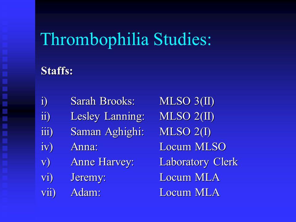 Thrombophilia Studies: Staffs: i)Sarah Brooks:MLSO 3(II) ii)Lesley Lanning:MLSO 2(II) iii)Saman Aghighi:MLSO 2(I) iv)Anna:Locum MLSO v)Anne Harvey:Lab