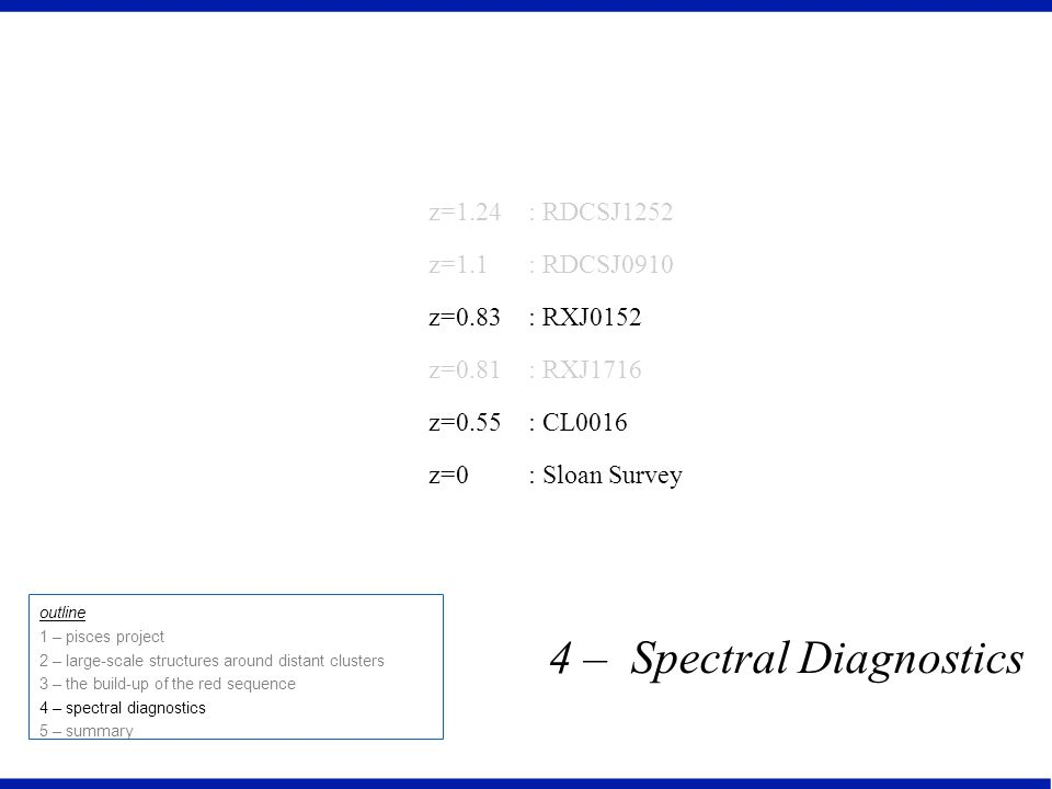 4 – Spectral Diagnostics outline 1 – pisces project 2 – large-scale structures around distant clusters 3 – the build-up of the red sequence 4 – spectral diagnostics 5 – summary z=1.24 z=1.1 z=0.83 z=0.81 z=0.55 z=0 : RDCSJ1252 : RDCSJ0910 : RXJ0152 : RXJ1716 : CL0016 : Sloan Survey