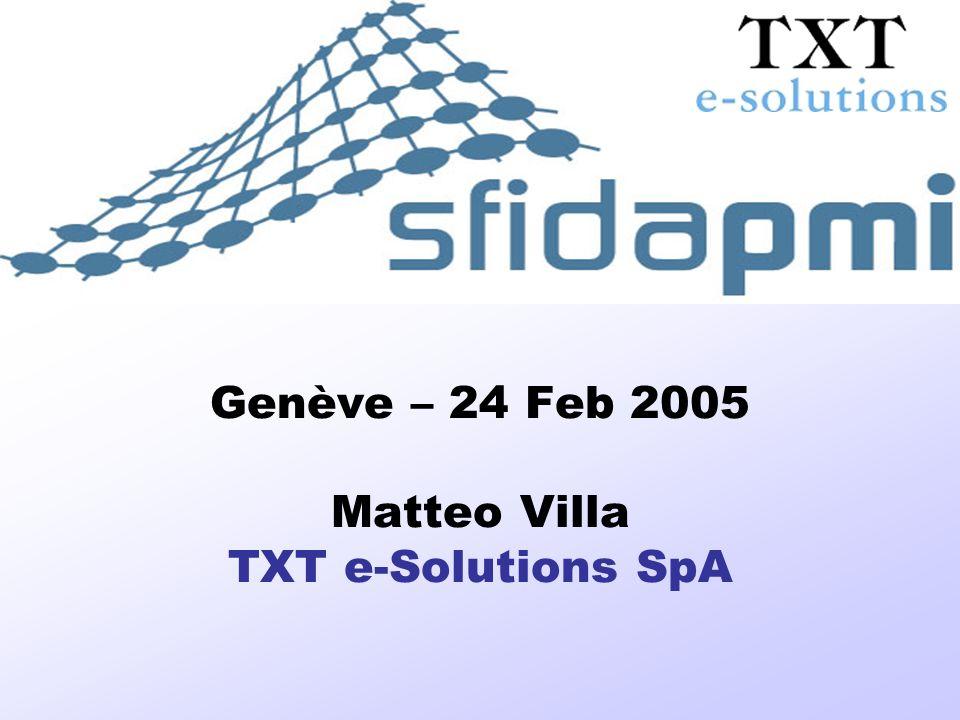 SFIDA-PMI Soluzioni informatiche per FIliere, Distretti ed Associazioni di PMI Genève – 24 Feb 2005 Matteo Villa TXT e-Solutions SpA