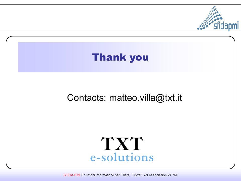 SFIDA-PMI Soluzioni informatiche per FIliere, Distretti ed Associazioni di PMI Thank you Contacts: matteo.villa@txt.it