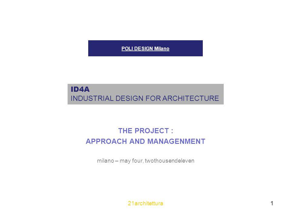 21architettura 22 ID4A INDUSTRIAL DESIGN FOR ARCHITECTURE ……………………………………………………..