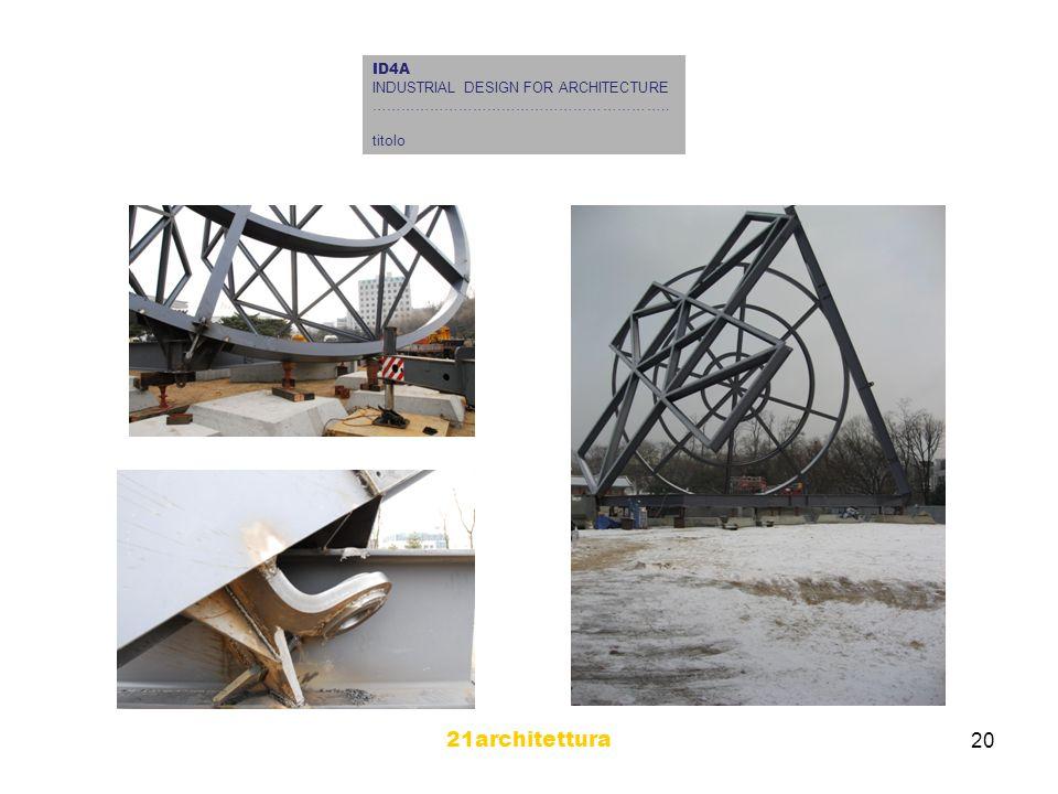21architettura 20 ID4A INDUSTRIAL DESIGN FOR ARCHITECTURE …………………………………………………….. titolo