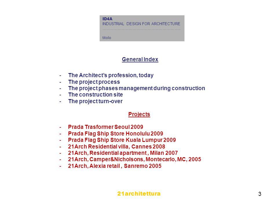 21architettura 4 ID4A INDUSTRIAL DESIGN FOR ARCHITECTURE ……………………………………………………..