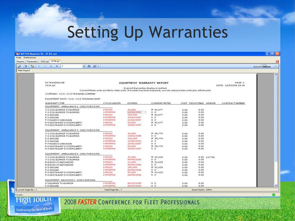 Setting Up Warranties