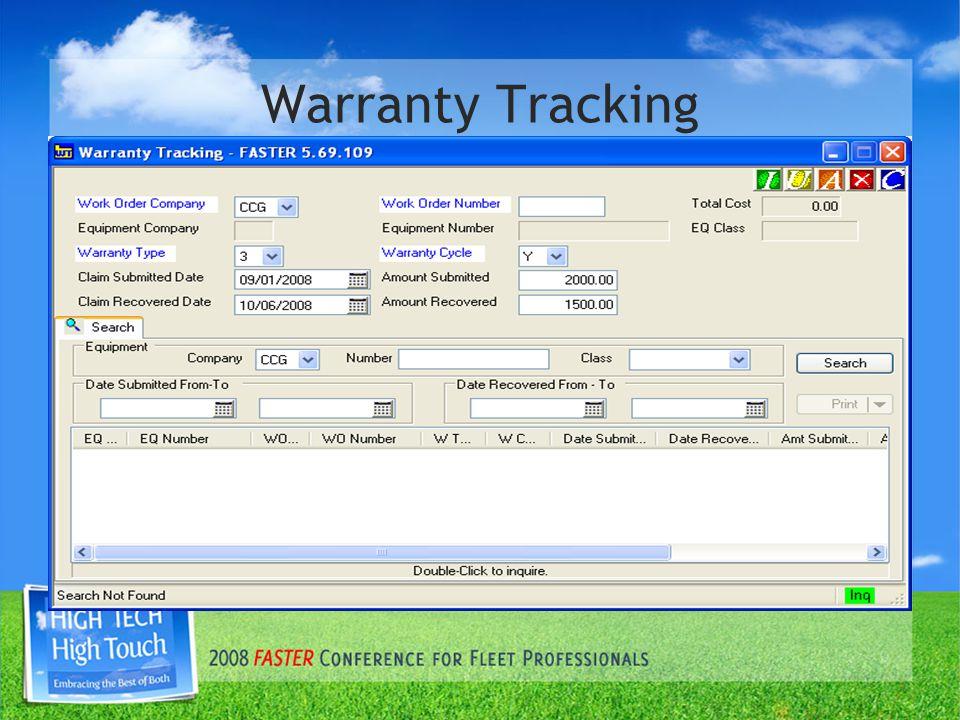 Warranty Tracking