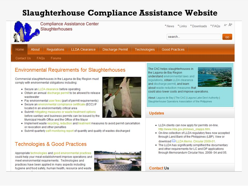 Contents Common to All CAC Websites  About Laguna Lake Compliance Assistance About the LLDA  LLDA Clearance  Discharge permit  Laws and Regulations Environmental Laws Regulations and Guidelines Standards Penalties and Fines EIA (except coverage, per industry) Compliance Monitoring