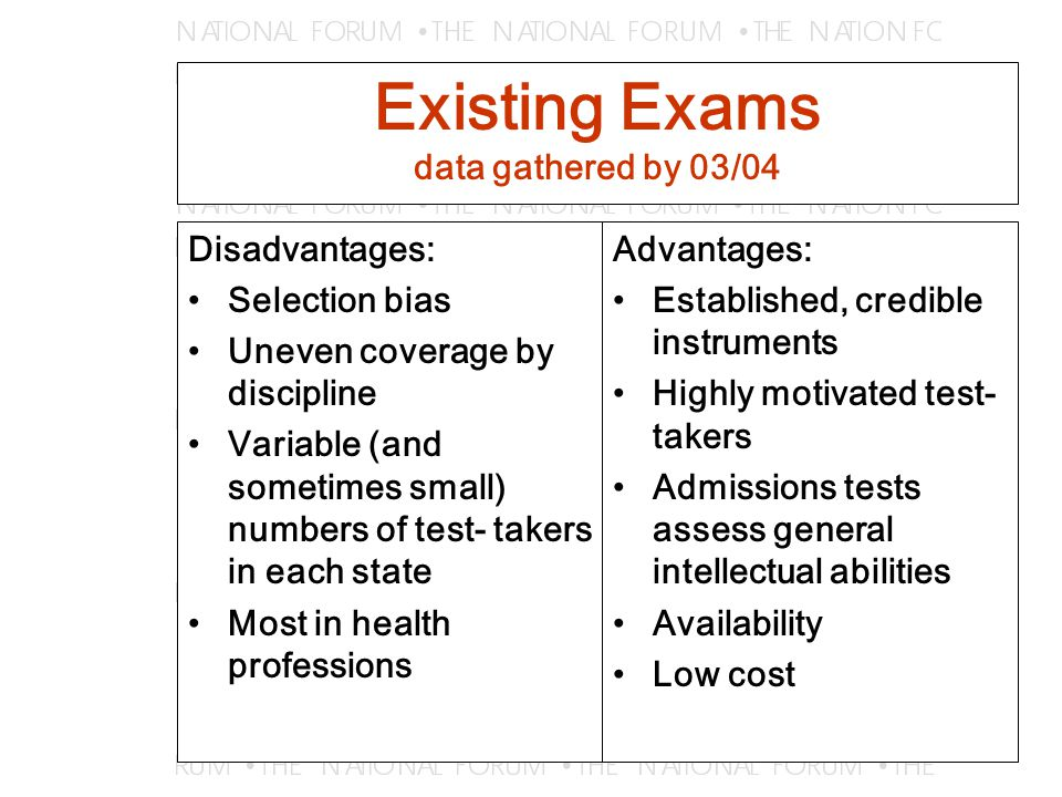 Existing Exams data gathered by 03/04 Disadvantages: Selection bias Uneven coverage by discipline Variable (and sometimes small) numbers of test- takers in each state Most in health professions Advantages: Established, credible instruments Highly motivated test- takers Admissions tests assess general intellectual abilities Availability Low cost