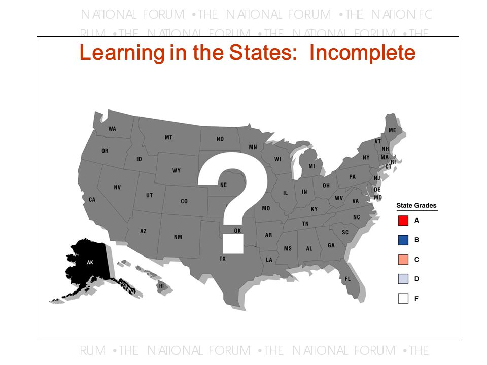 State Efforts to Measure Learning (taxonomy: Peter Ewell, Change magazine) Certification of individual students –E.g., Texas ' s TASP, Florida ' s CLAST Institutional assessment for improvement –E.g., Tennessee s performance measures –Missouri ' s accountability program –Campus-based assessment Institutional assessment for accountability –E.g., S.