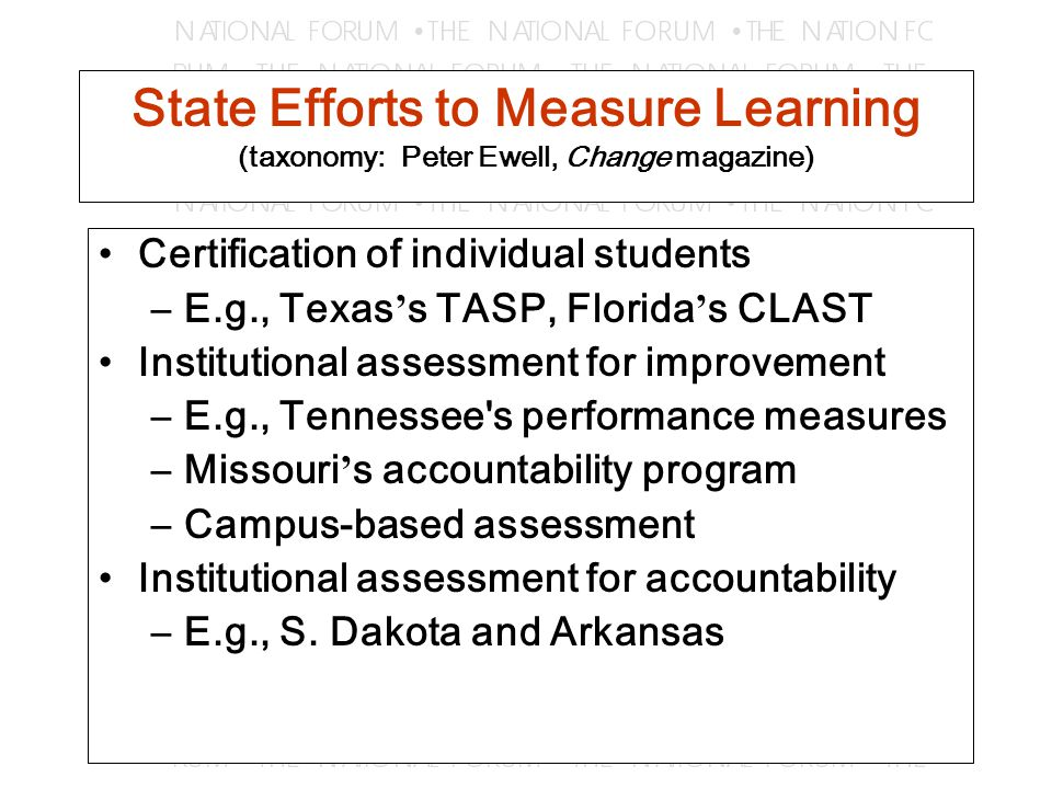 National Attention to College-Level Learning Pew ' s Quality of Undergraduate Education and writing assessment projects American Association of Colleges and Universities ' general education assessment project Council on Higher Education Accreditation ' s project on institutional effectiveness Secretary s Commission on Achieving Necessary Skills (SCANS) skills Equipped for the Future National Skills Standards Board
