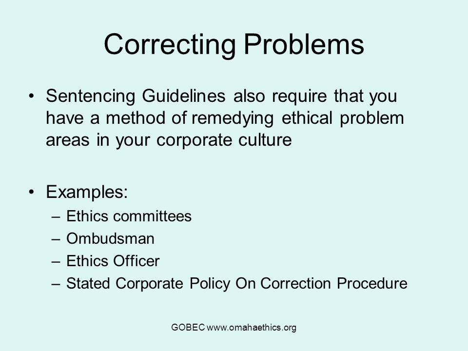 GOBEC www.omahaethics.org Correcting Problems Sentencing Guidelines also require that you have a method of remedying ethical problem areas in your corporate culture Examples: –Ethics committees –Ombudsman –Ethics Officer –Stated Corporate Policy On Correction Procedure