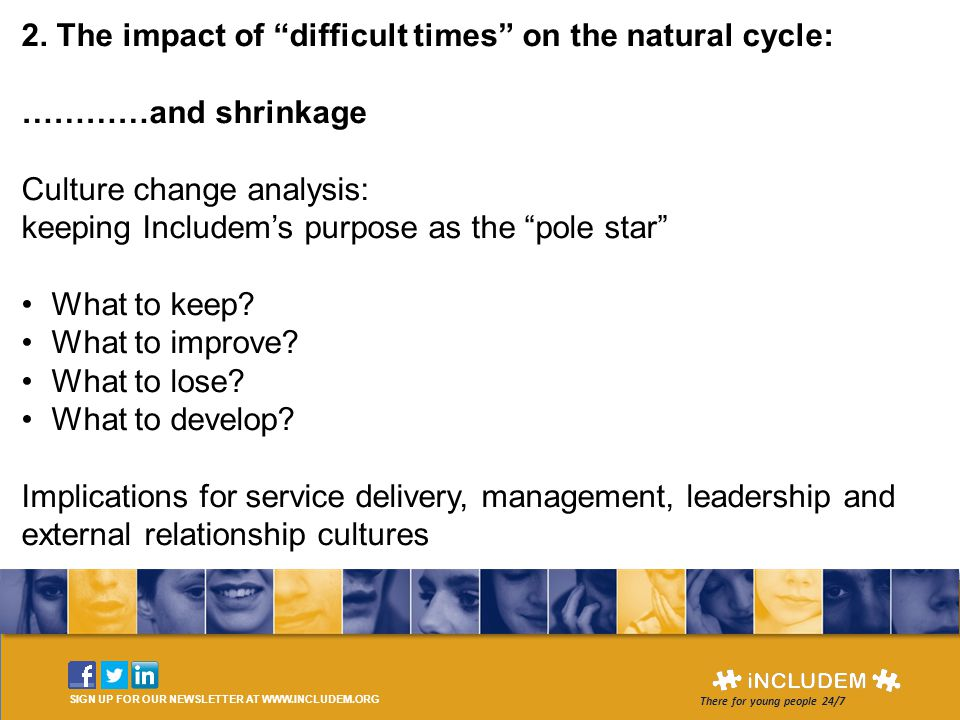 """SIGN UP FOR OUR NEWSLETTER AT WWW.INCLUDEM.ORG There for young people 24/7 2. The impact of """"difficult times"""" on the natural cycle: …………and shrinkage"""