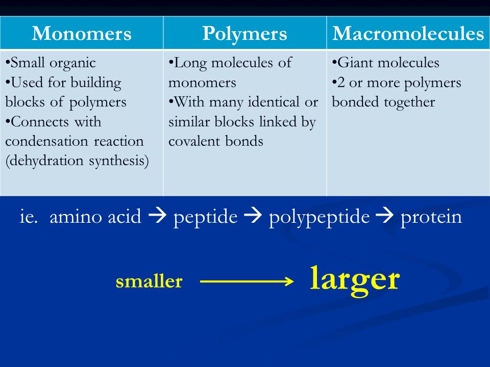 MonomersPolymersMacromolecules Small organic Used for building blocks of polymers Connects with condensation reaction (dehydration synthesis) Long molecules of monomers With many identical or similar blocks linked by covalent bonds Giant molecules 2 or more polymers bonded together ie.