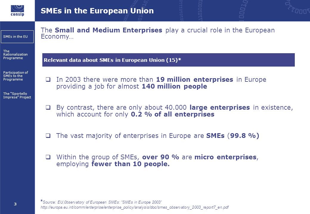 3 SMEs in the EU The Rationalization Programme Participation of SMEs to the Programme The Sportello Imprese Project SMEs in the European Union The Small and Medium Enterprises play a crucial role in the European Economy… Relevant data about SMEs in European Union (15)* * Source: EU,0bservatory of European SMEs: SMEs in Europe 2003 http://europa.eu.int/comm/enterprise/enterprise_policy/analysis/doc/smes_observatory_2003_report7_en.pdf  In 2003 there were more than 19 million enterprises in Europe providing a job for almost 140 million people  By contrast, there are only about 40.000 large enterprises in existence, which account for only 0.2 % of all enterprises  The vast majority of enterprises in Europe are SMEs (99.8 %)  Within the group of SMEs, over 90 % are micro enterprises, employing fewer than 10 people.