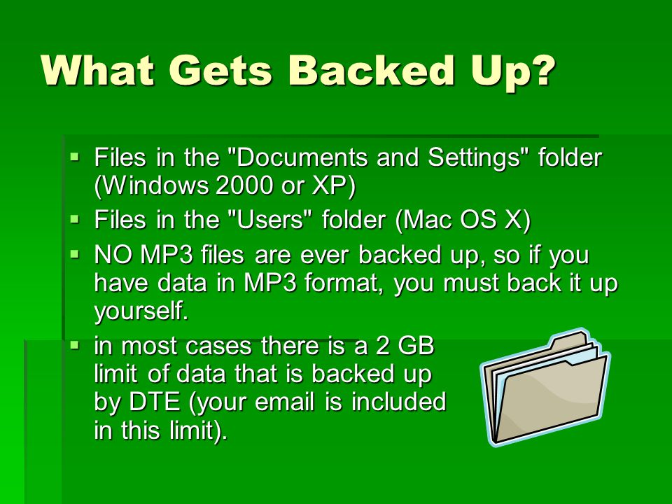 Might Want to Backup  You MIGHT want to backup:  your email, especially if it has customer queries, contact data, or other business-critical information  preferences or bookmarks from web browsers  your personal settings for how your computer works  anything that would be a nuisance if it was lost