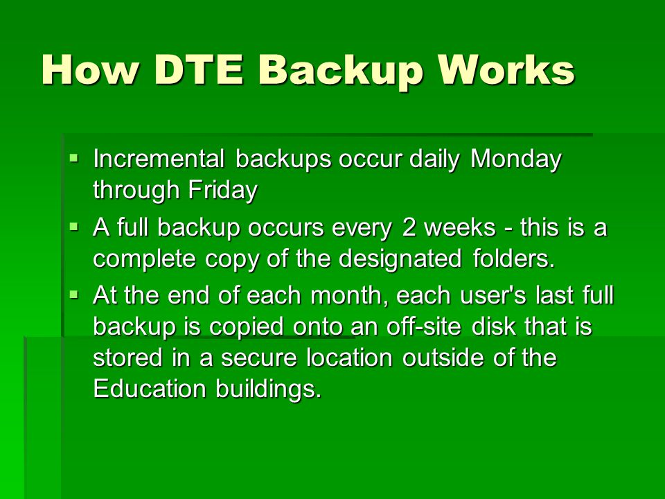 Using Windows XP Backup  Backup wizard that lets you select files and create a repeating backup schedule.