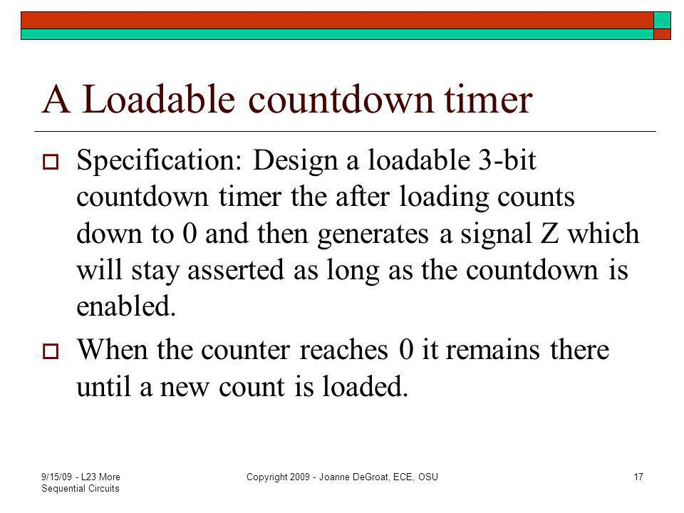 A Loadable countdown timer  Specification: Design a loadable 3-bit countdown timer the after loading counts down to 0 and then generates a signal Z which will stay asserted as long as the countdown is enabled.