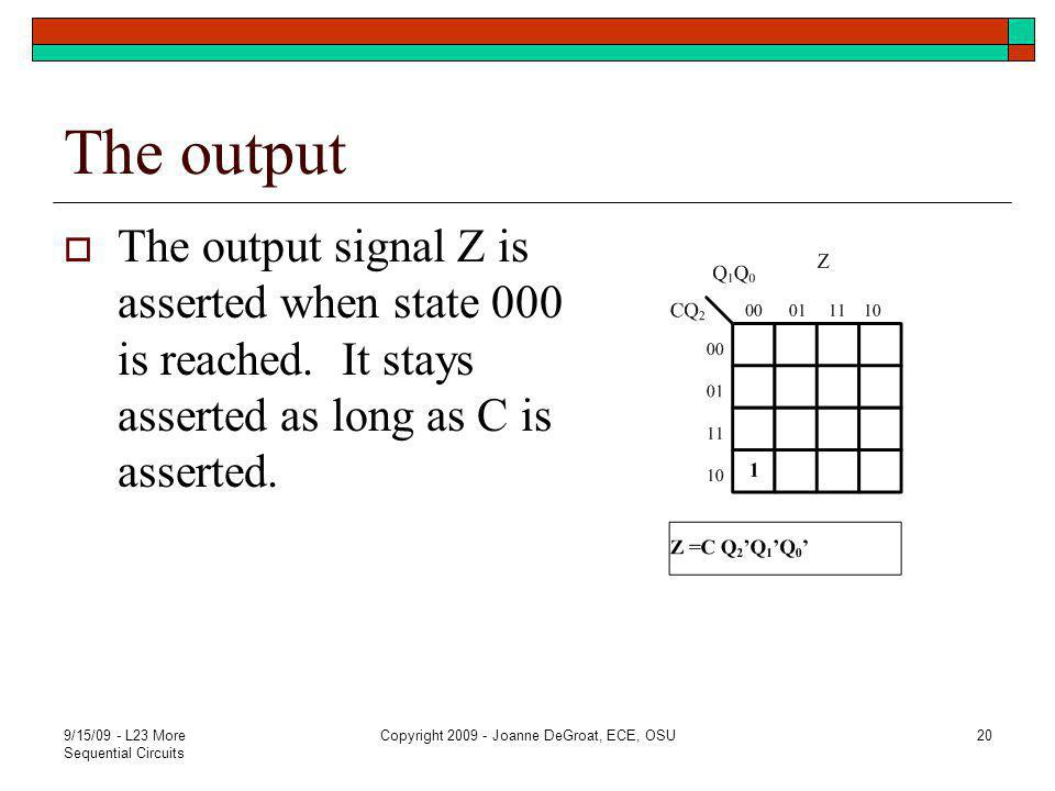 The output  The output signal Z is asserted when state 000 is reached.