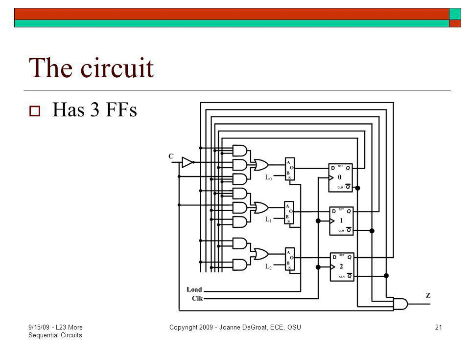 The circuit  Has 3 FFs 9/15/09 - L23 More Sequential Circuits Copyright 2009 - Joanne DeGroat, ECE, OSU21