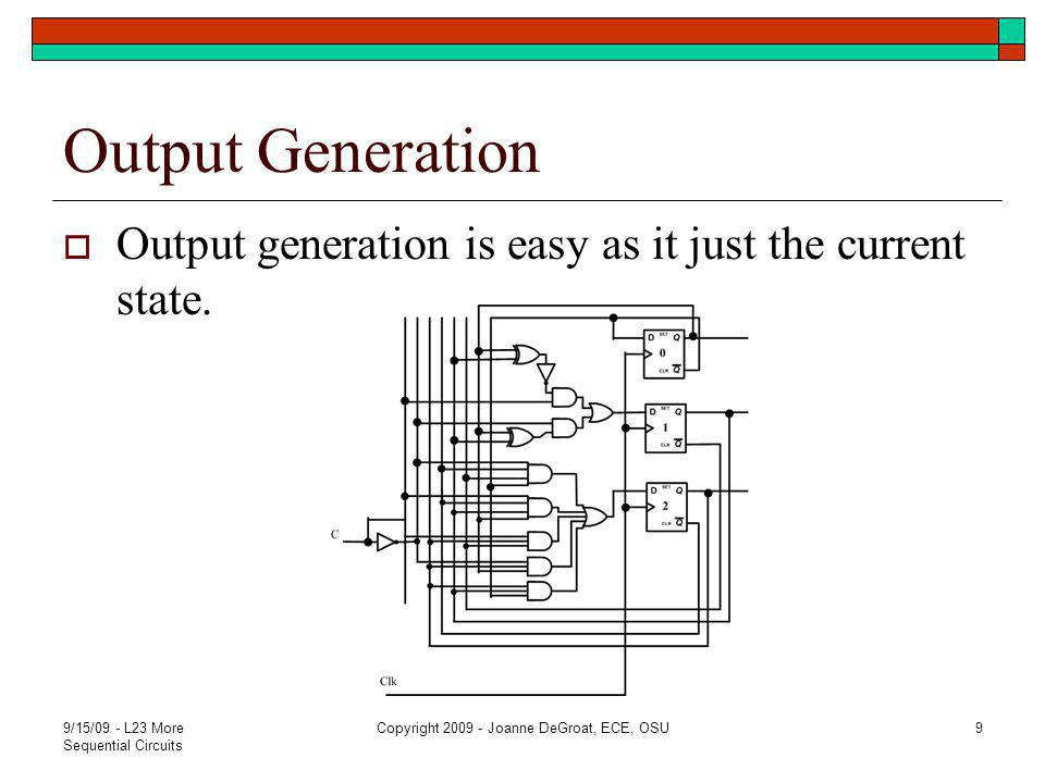 Output Generation  Output generation is easy as it just the current state.