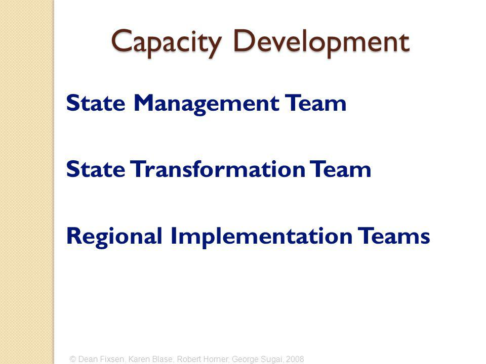 © Dean Fixsen, Karen Blase, Robert Horner, George Sugai, 2008 Capacity Development State Management Team State Transformation Team Regional Implementation Teams