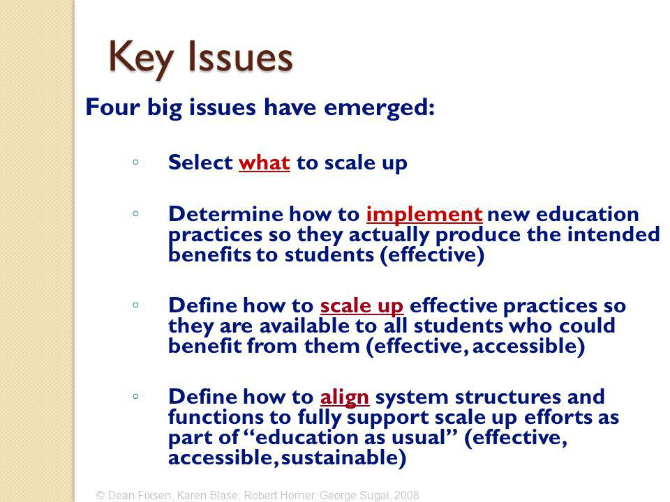 Key Issues Four big issues have emerged: ◦ Select what to scale up ◦ Determine how to implement new education practices so they actually produce the intended benefits to students (effective) ◦ Define how to scale up effective practices so they are available to all students who could benefit from them (effective, accessible) ◦ Define how to align system structures and functions to fully support scale up efforts as part of education as usual (effective, accessible, sustainable)