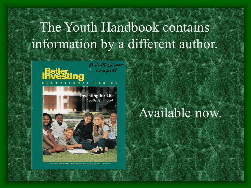 The Youth Handbook contains information by a different author. Available now.