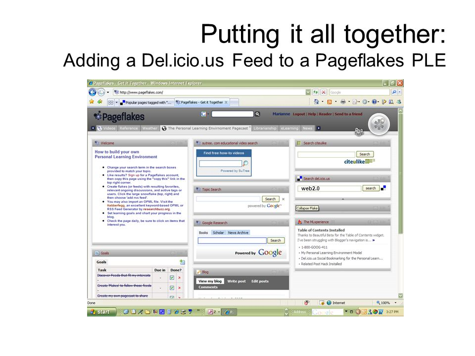 Putting it all together: Adding a Del.icio.us Feed to a Pageflakes PLE web2.0