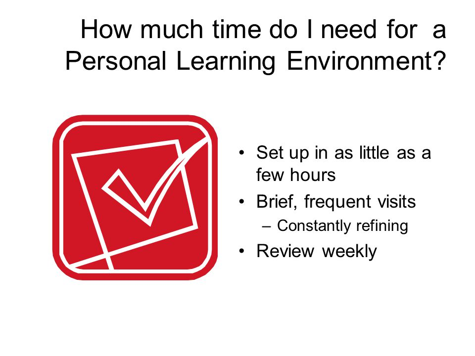 How much time do I need for a Personal Learning Environment.