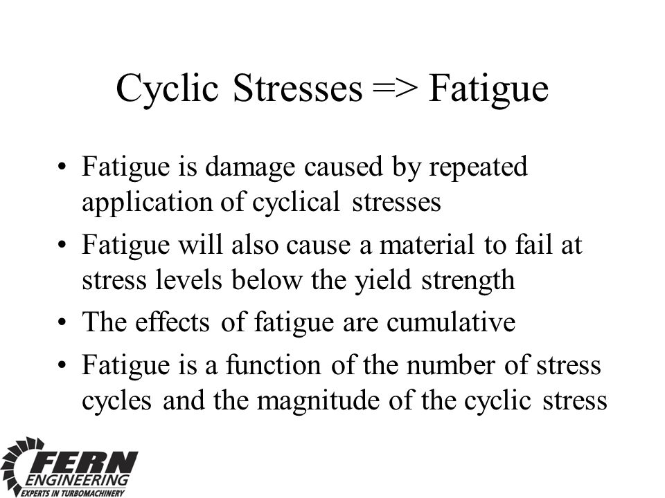 Cyclic Stresses => Fatigue Fatigue is damage caused by repeated application of cyclical stresses Fatigue will also cause a material to fail at stress levels below the yield strength The effects of fatigue are cumulative Fatigue is a function of the number of stress cycles and the magnitude of the cyclic stress