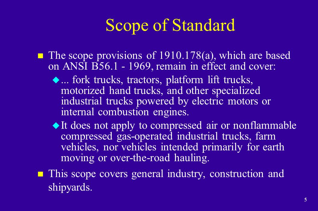 16 Final Rule n OSHA published the final rule for Powered Industrial Truck Operator Training on December 1, 1998.