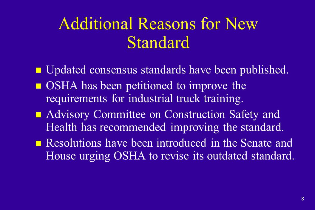59 Some Types of Powered Industrial Trucks Used in Maritime u Container top handlers u Container reach stackers u Straddle carriers u Semi-tractors/ Utility vehicles u Sidehandlers u Combination vacuum lifts u Yard tractors n The following types of vehicles are covered by the OSHA standard if the vehicles carry, push, pull, lift, or tier loads.